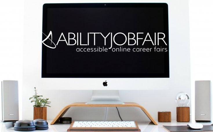 Computer screen with ABILITY Job Fait logo