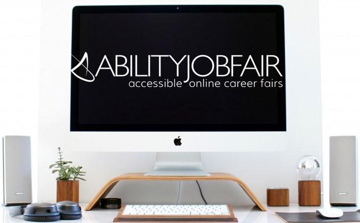 Computer screen with ABILITY Job Fait logo